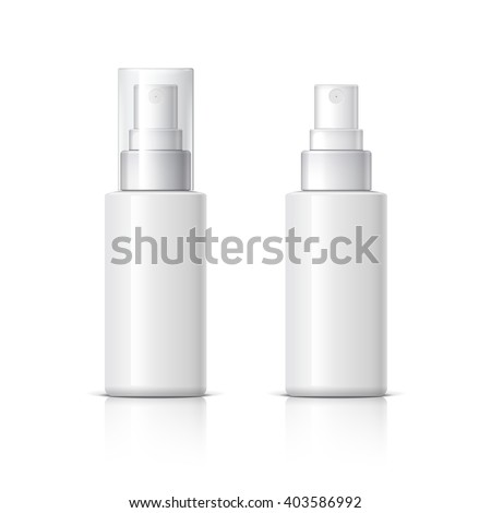 Realistic Cosmetic bottle can sprayer container. Dispenser for cream, soups, and other cosmetics With lid and without. Template For Mock up Your Design. vector illustration. - stock vector