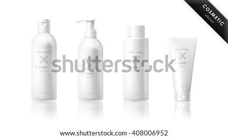 Realistic cosmetic bottle mock up set isolated pack on white background. Cosmetic brand template. Vector cosmetic packaging. Shampoo pack. Blank cosmetic package collection. Cosmetics beauty products.