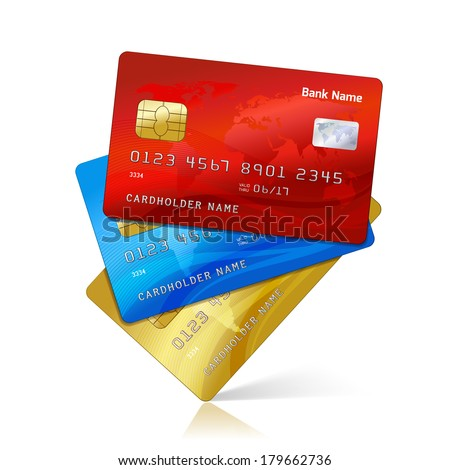 Realistic credit cards collection with reflection isolated vector illustration - stock vector