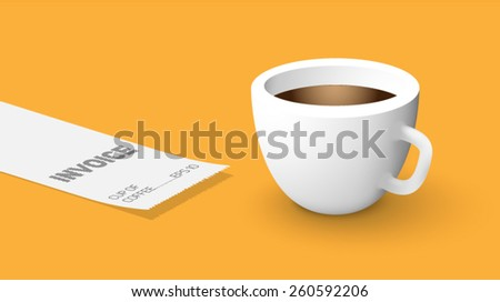 realistic cup of coffee with a check