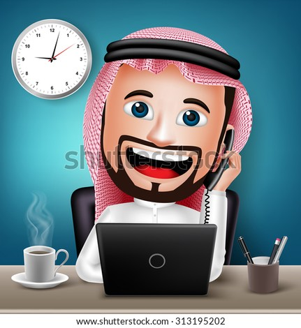 Realistic 3D Arabic Man Working on Office Desk with Laptop Talking on Telephone for Business. Vector Illustration - stock vector