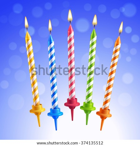 Realistic 3d colorful birthday cake burning candles set on blue background vector illustration - stock vector