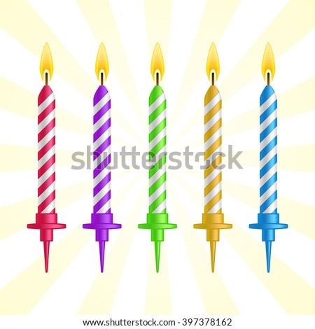 Realistic 3d colorful birthday cake burning candles set on blue background vector illustration. - stock vector