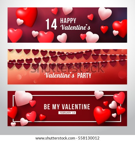 Realistic 3D Colorful Red and White Hearts Romantic Happy Valentine day Tag lable banner collection.