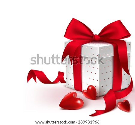 Realistic 3D Colorful Sweet Red Gift Box with Hearts and Satin Ribbon and Bow for Romantic Valentines Day, Thanksgiving, Christmas, Party and Anniversary. Isolated Vector Illustration
