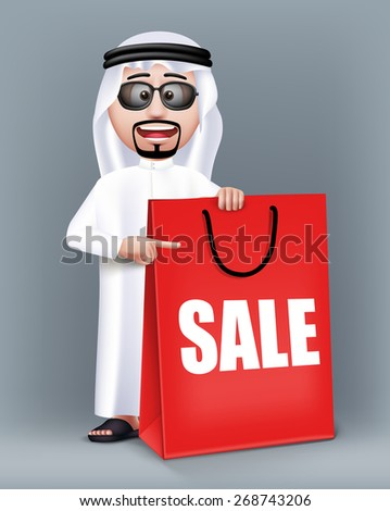 Realistic 3D Handsome Saudi Arab Man Character Wearing Traditional Clothes Holding Big Shopping Bag with Sale Text Written. Editable Vector Illustration - stock vector