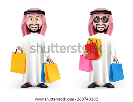 Realistic 3D Handsome Saudi Arab Man Character Wearing Traditional Clothes Holding Shopping Bags in WHite Background. Two Editable Vector Illustration - stock vector