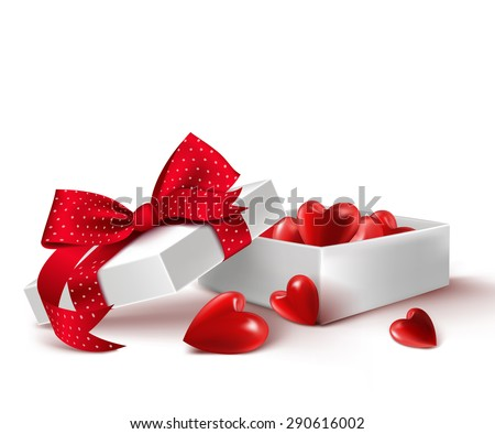 Realistic 3D White Gift Box with Balloon Hearts Inside Wrap in Red Ribbon for Romantic Valentines Day and Offerings. Isolated Vector Illustration - stock vector