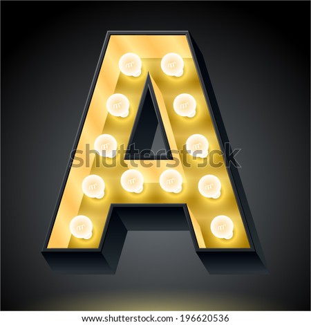 Realistic dark lamp alphabet for light board. Vector illustration of bulb lamp letter a - stock vector