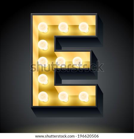 Realistic dark lamp alphabet for light board. Vector illustration of bulb lamp letter e - stock vector