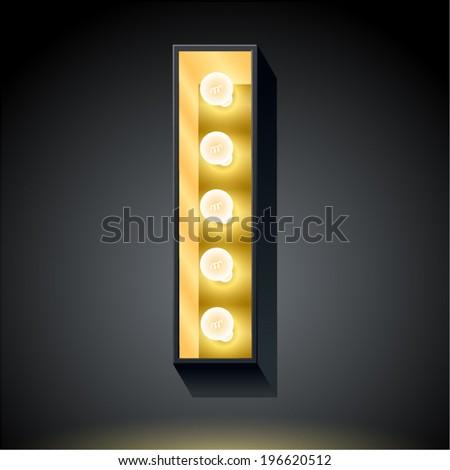 Realistic dark lamp alphabet for light board. Vector illustration of bulb lamp letter i - stock vector