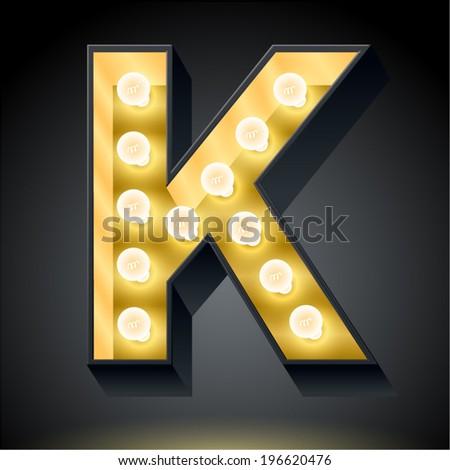 Realistic dark lamp alphabet for light board. Vector illustration of bulb lamp letter k - stock vector
