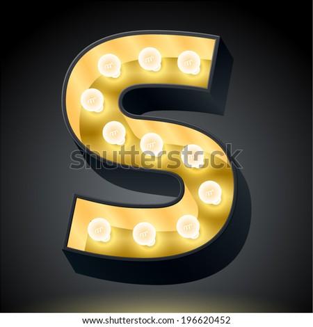 Realistic dark lamp alphabet for light board. Vector illustration of bulb lamp letter s - stock vector