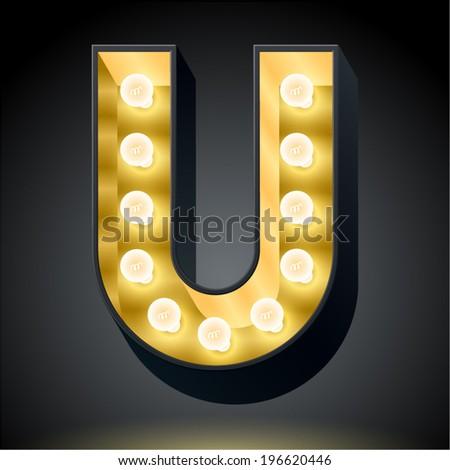 Realistic dark lamp alphabet for light board. Vector illustration of bulb lamp letter u - stock vector