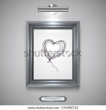 Realistic, Dark Silver Wood Frame for Picture, Rectangle Wood Border and Lamp on a Wall. - stock vector