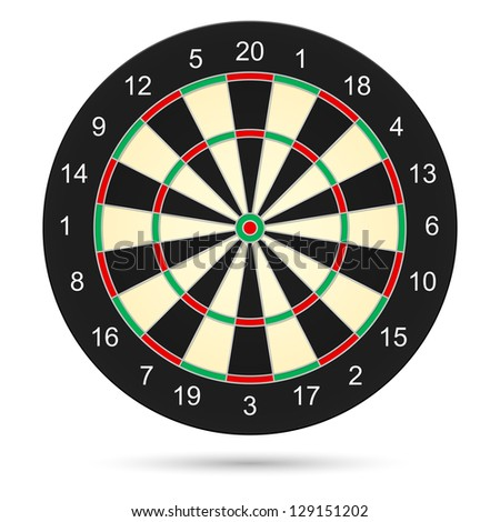 Realistic dartboard. Illustration on white background for creative design