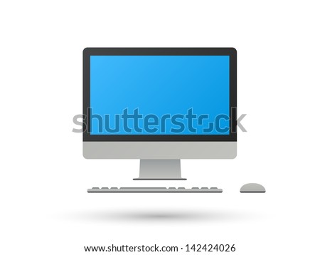 Realistic Desktop Computer with Monitor, Keyboard, Mouse, isolated on white background. Vector illustration. - stock vector