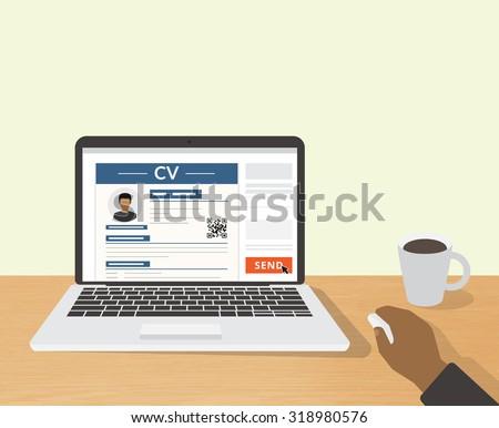 Realistic desktop design with CV template presentation. Illustration of sending online CV to employer - stock vector