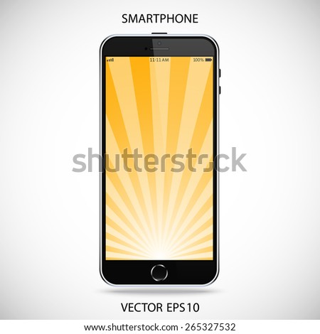 realistic detailed black smartphone in iphone style with yellow touch screen isolated on a gray background. vector illustration eps10 - stock vector