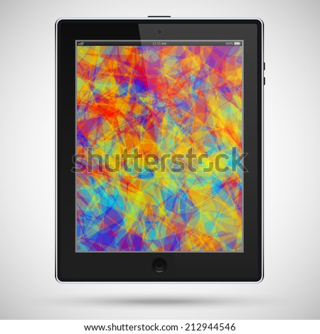 realistic detailed black tablet in ipad style with a colored touch screen isolated on a gray background. vector illustration eps10