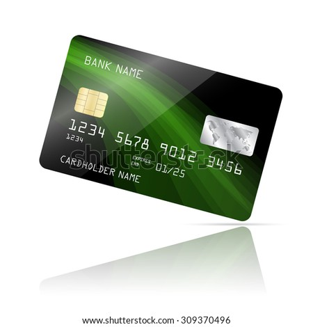 Realistic detailed credit card with abstract design isolated on white background. Vector illustration EPS10 - stock vector