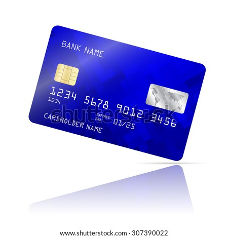 Realistic detailed credit card with abstract geometric blue design isolated on white background. Vector illustration EPS10
