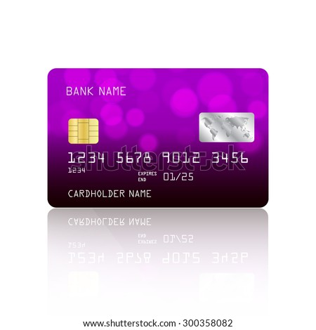 Realistic detailed credit card with abstract purple design isolated on white background. Vector illustration EPS10 - stock vector