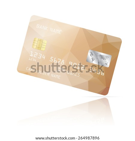 Realistic detailed credit card with biege geometric triangular design isolated on white background. Vector illustration EPS10 - stock vector