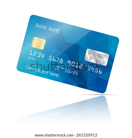 Realistic detailed credit card with blue geometric triangular design isolated on white background. Vector illustration EPS10