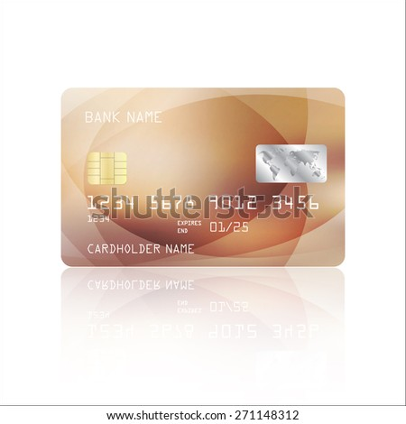 Realistic detailed credit card with geometric beige design isolated on white background. Vector illustration EPS10 - stock vector