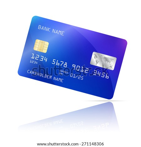 Realistic detailed credit card with geometric blue design isolated on white background. Vector illustration EPS10 - stock vector