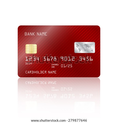Realistic detailed credit card with red striped geometric design isolated on white background. Vector illustration EPS10 - stock vector