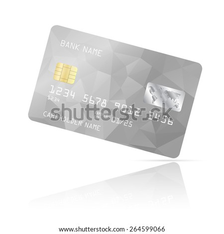 Realistic detailed credit card with silver geometric triangular design isolated on white background. Vector illustration EPS10 - stock vector