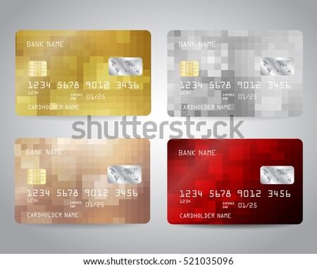 Realistic detailed credit cards set with colorful abstract gold, silver, bronze, red geometric design background. Vector illustration EPS10