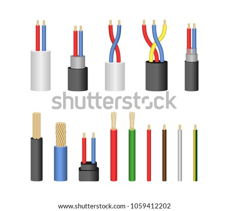 Realistic Detailed 3 D Electrical Cable Wire Stock Vector HD ...