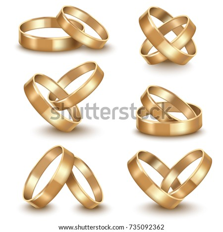 Realistic Detailed Golden Wedding Rings Set Stock Vector Royalty