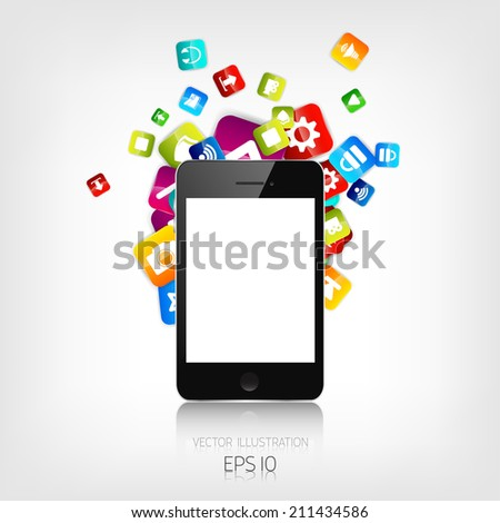 Realistic detalized flat smartphone with application icons. - stock vector