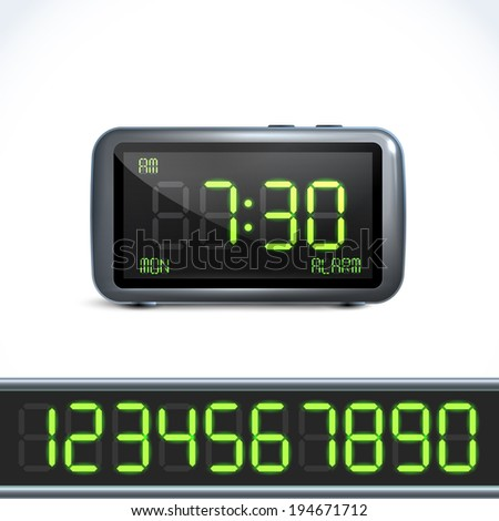 Realistic digital alarm clock with lcd display and numbers vector illustration - stock vector