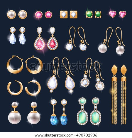 Realistic earrings jewelry accessories icons set. Gold and diamond pearl gemstones pendant vector illustration. Stud hoop drop dangle earrings designs.