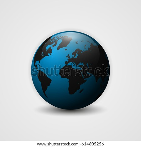 Realistic Earth vector illustration. 3d planet icon. World map.