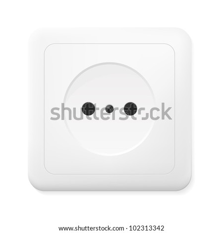 Realistic electric outlet. Vector illustration. - stock vector