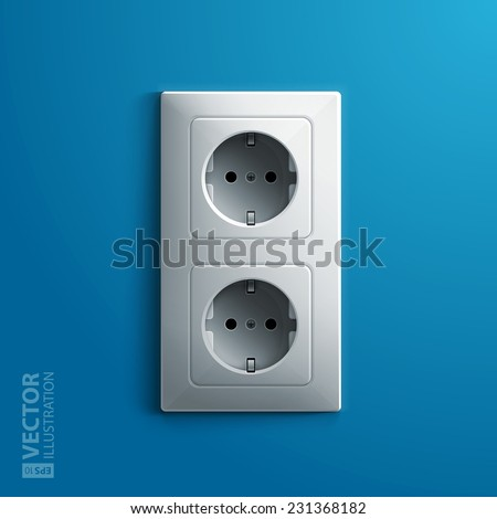 Realistic electric white double socket on blue wall background. RGB EPS 10 vector illustration - stock vector