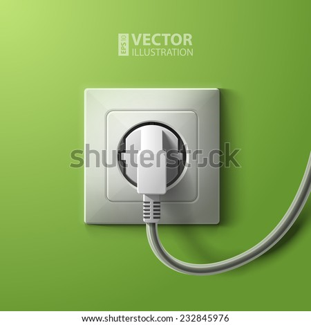 Realistic electric white socket and plug on green wall background. RGB EPS 10 vector illustration - stock vector