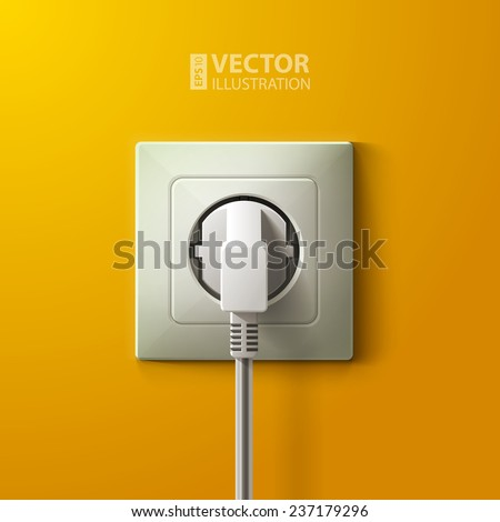 Realistic electric white socket and plug on yellow wall background. RGB EPS 10 vector illustration - stock vector