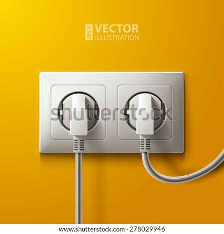 Realistic electric white socket and 2 plugs on yellow wall background. RGB EPS 10 vector illustration - stock vector