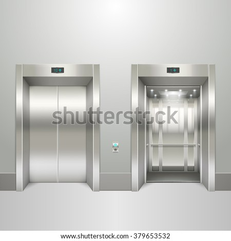 Realistic elevator open and closed doors - stock vector