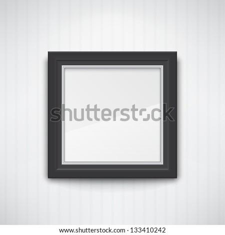 Realistic empty black frame on the white wall. EPS10 vector. - stock vector