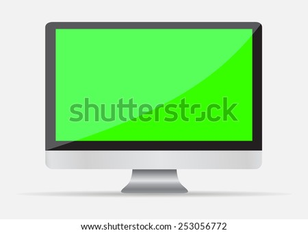Realistic Empty computer display with green screen - stock vector