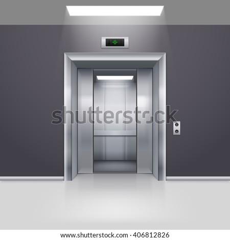 Realistic Empty Elevator with Half Open Door in Lobby - stock vector