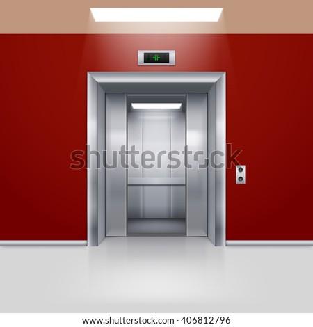 Realistic Empty Elevator with Half Open Door in Red Lobby - stock vector